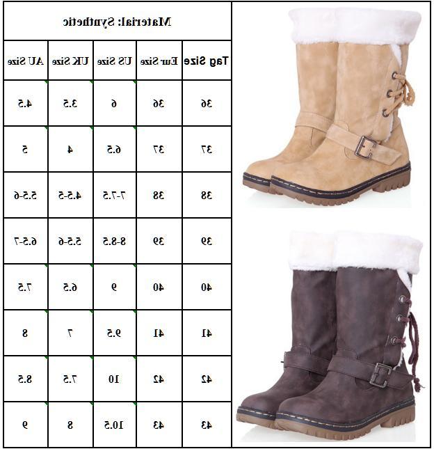 Women's Winter Boots Snow Fur Waterproof Midi Calf Ski Size