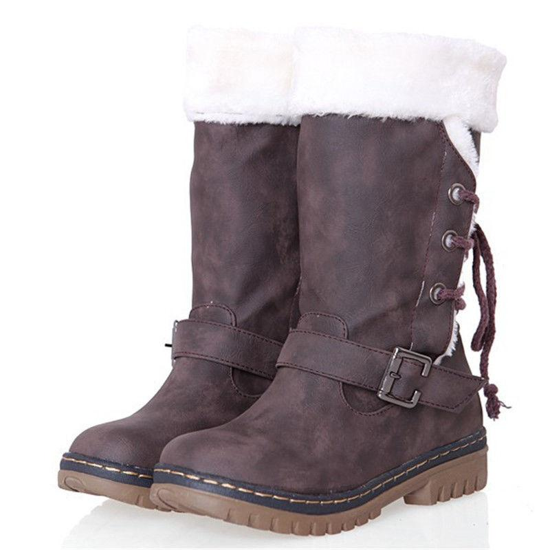 Women's Winter Boots Fur Waterproof Midi Calf Size