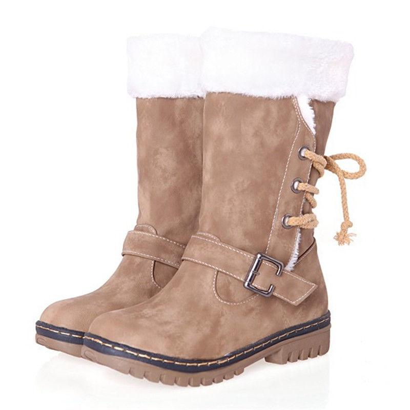 Women's Boots Snow Fur Warm Waterproof Midi Calf Size