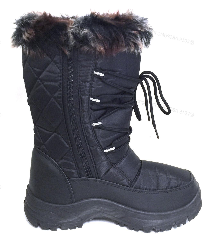 Women's Winter Snow Boots Black Fur Zipper Repellent