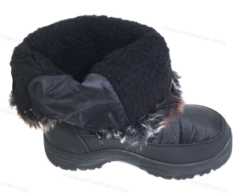 Women's Winter Boots Black Fur Zipper Repellent Shoes