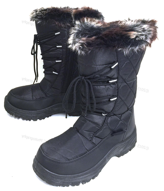 Women's Winter Snow Black Fur Zipper Repellent