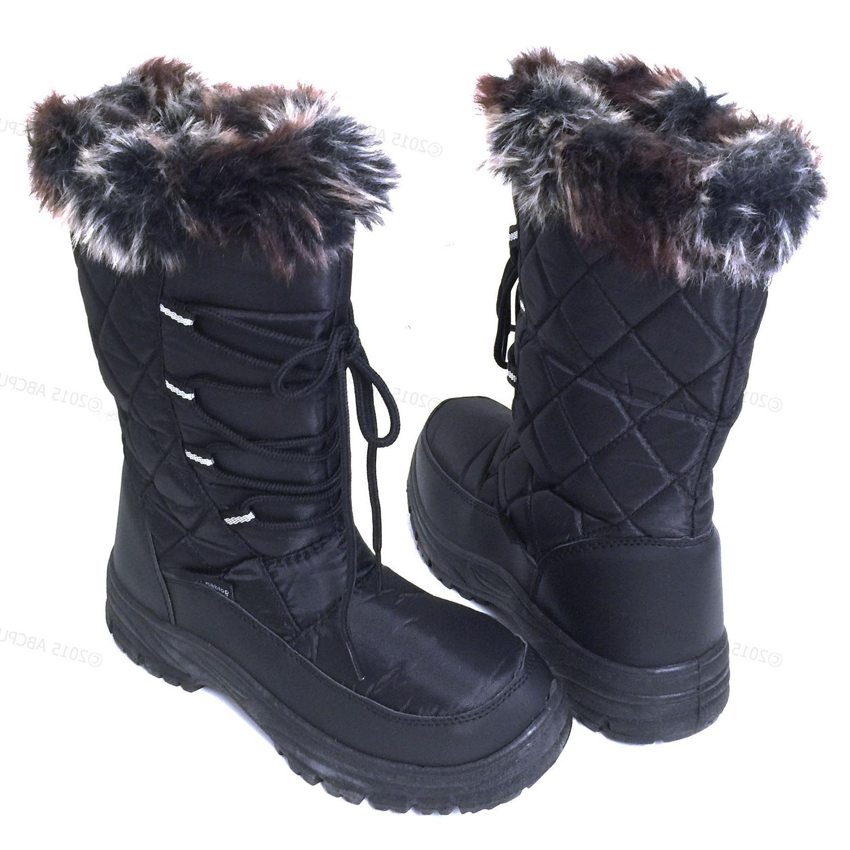 women s winter snow boots black fur