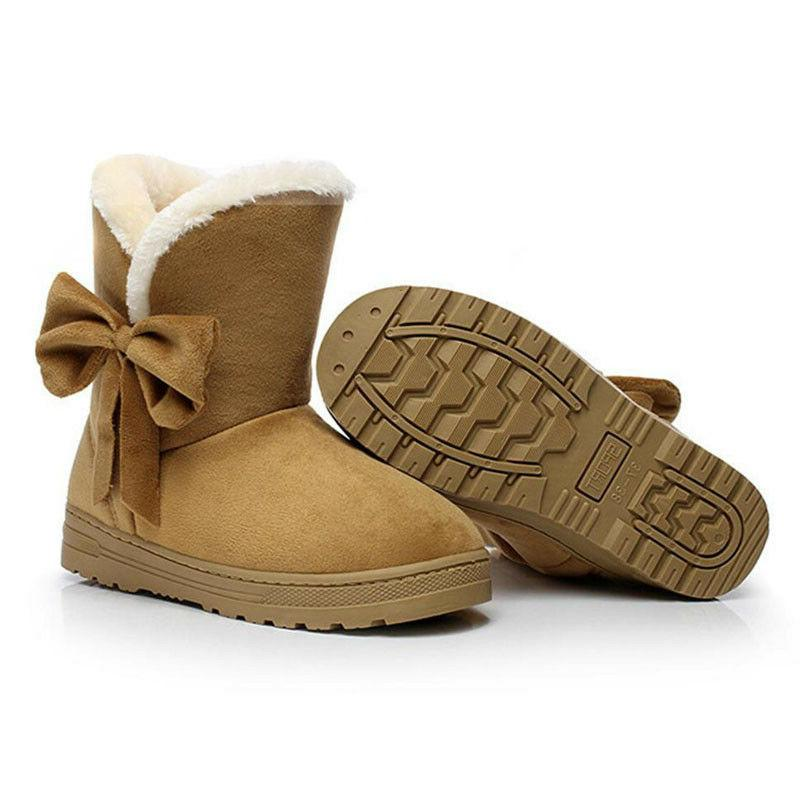 Women's Warm Ankle Snow Boots Thicken Ski Flats Shoes