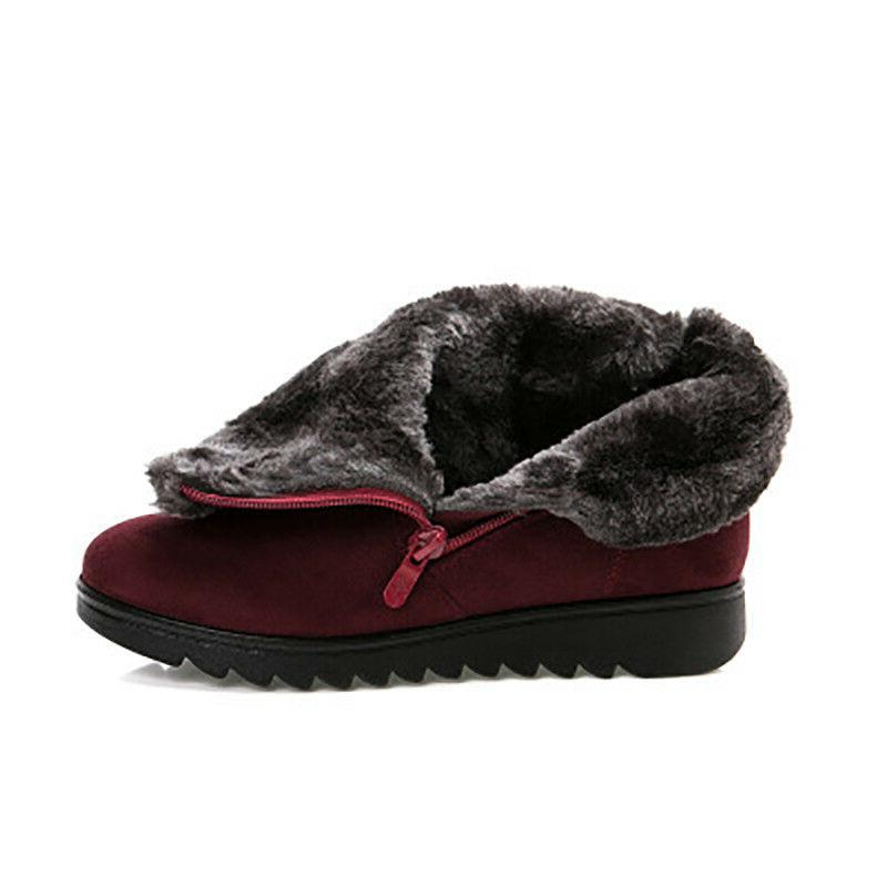 Women Snow Boots Size Winter Warm Short Flat Heels