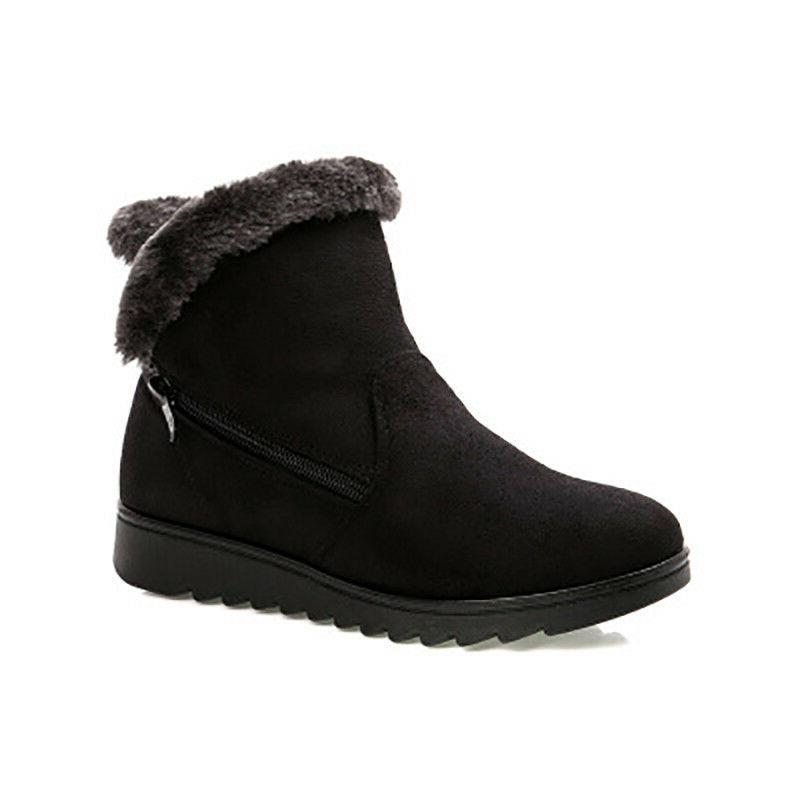 Women Size Ankle Warm Flat Heels