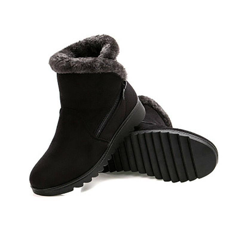Women Snow Boots Plus Size Winter Shoes Warm Short Flat Heels