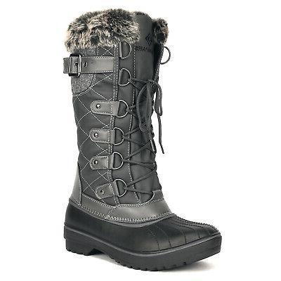 Women's Winter Warm Faux Fur Lined Snow Boots Waterproof Sid