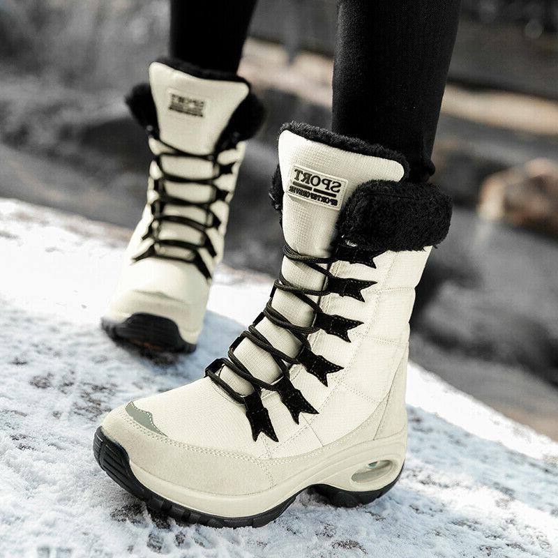 Women's Snow Boots Non-slip Water-Resistant Winter Shoes Wit