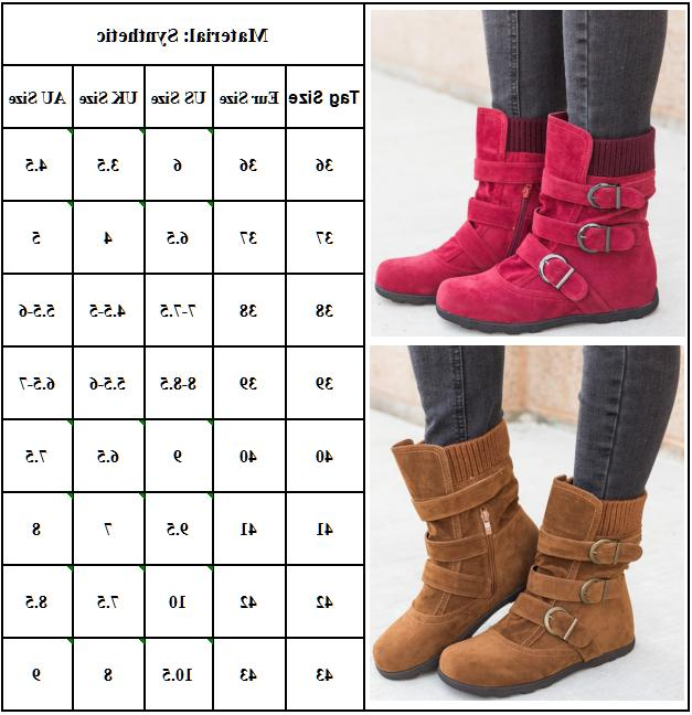 Womens Ankle Boots Fur Snow Buckle Flats Shoes Booties