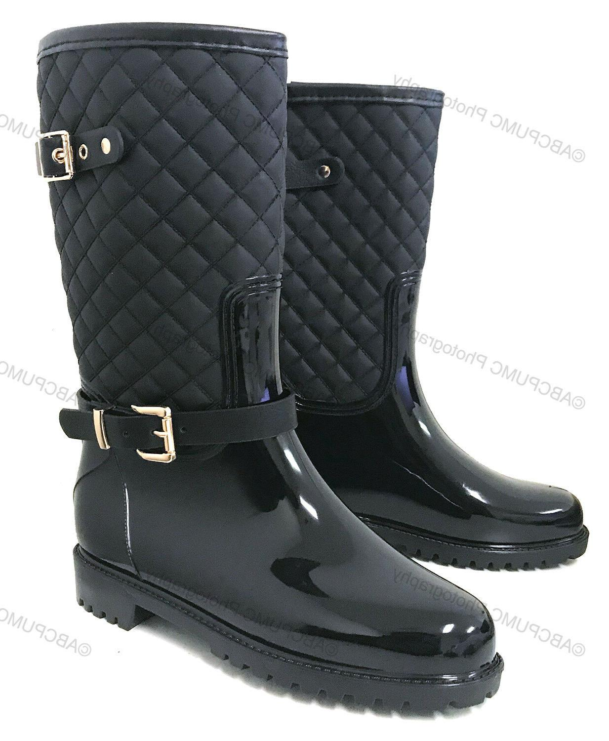 womens rain boots rubber adjustable buckle fashion