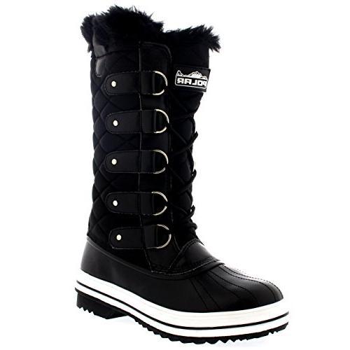 womens snow boot nylon tall winter fur