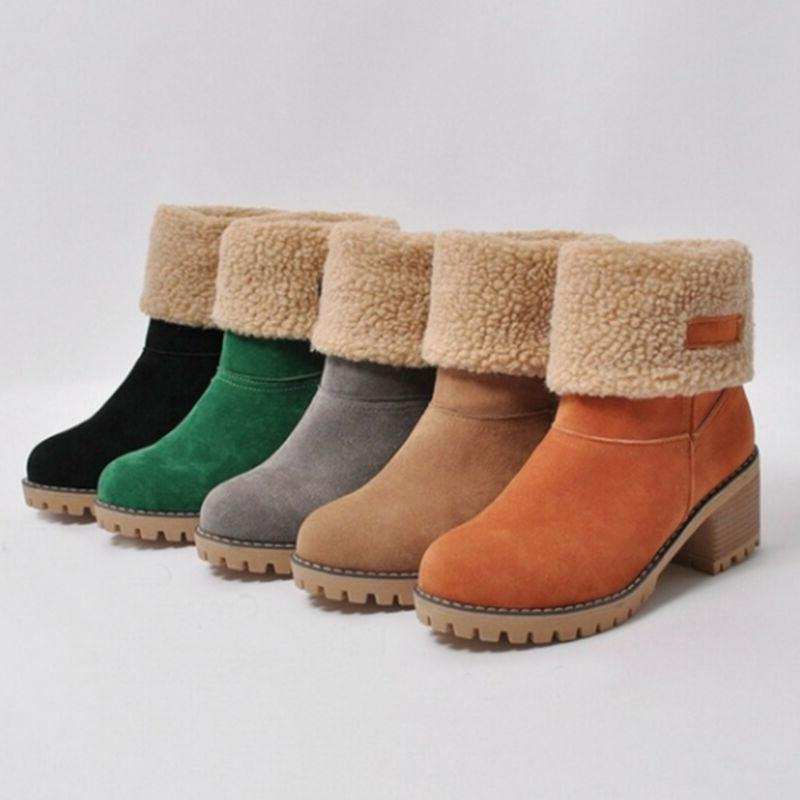 Womens Snow Booties Winter Warm Faux Fur Suede Shoes Square