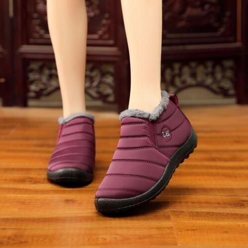 Womens Waterproof Snow Boots Lined On Outdoor Hiking Shoes