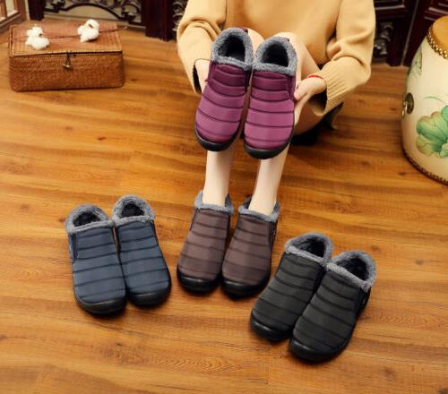 Womens Waterproof Winter Boots Fur Lined Slip On Shoes