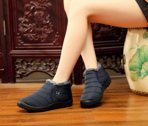 Womens Waterproof Boots Fur Slip On Shoes