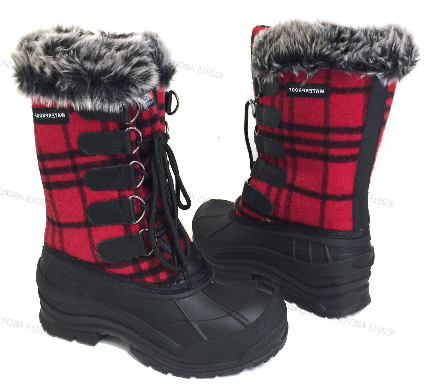New Women's Flannel Plaid Fur Insulated Waterproof Hiking