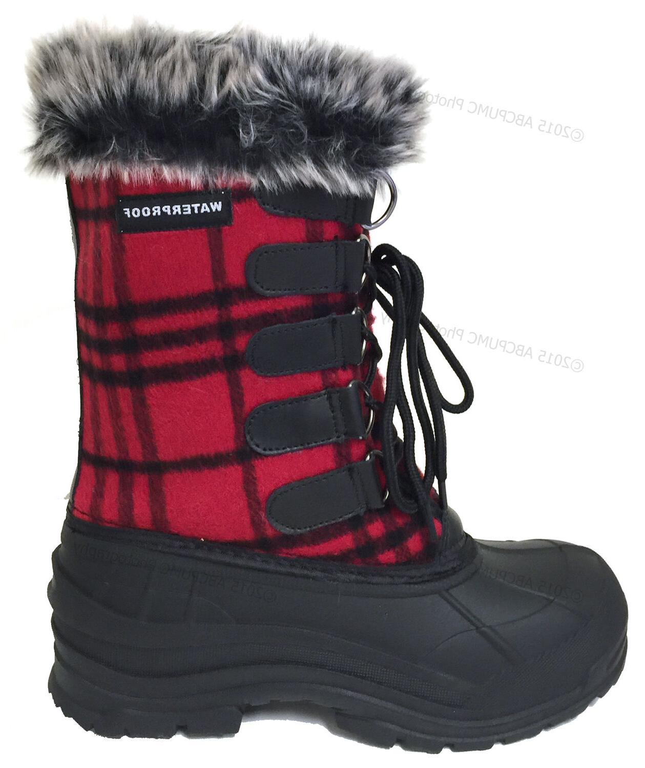 New Women's Flannel Plaid Fur Warm Insulated