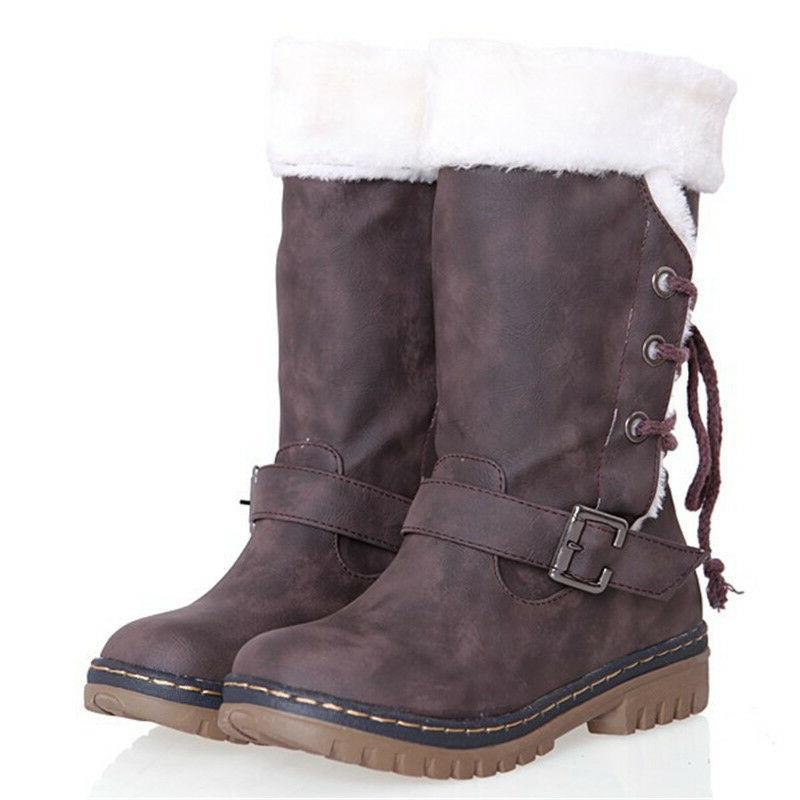 Women's Winter Boots Fur Waterproof Midi Calf Size
