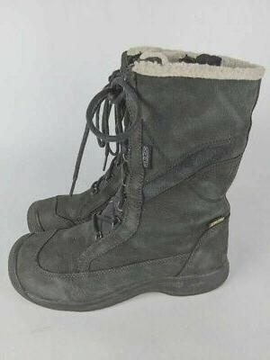 womens winter snow boots black leather insulated