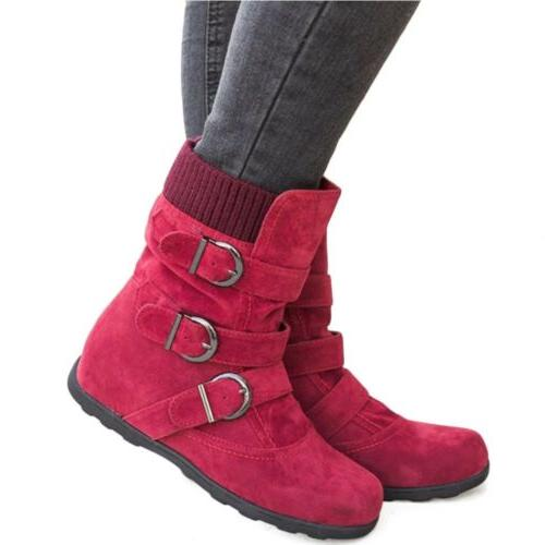 Womens Winter Warm Boots Fur Snow Buckle Suede Booties