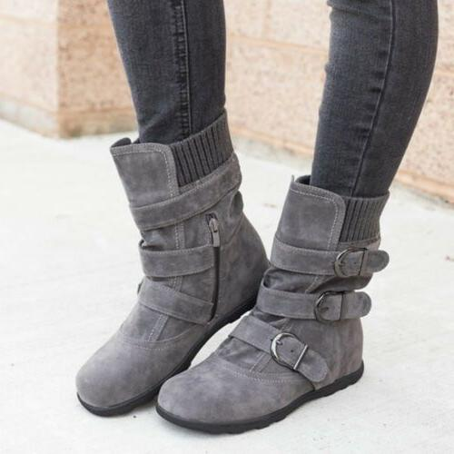 Womens Winter Warm Ankle Boots Snow Buckle Flats Suede Shoes Booties