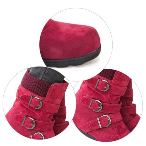 Womens Winter Boots Buckle Flats Suede Booties