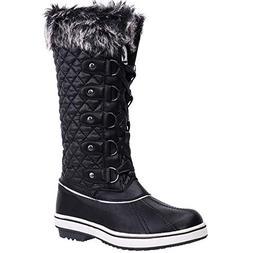 ALEADER Women's Lace Up Waterproof Winter Snow Boots Black 7