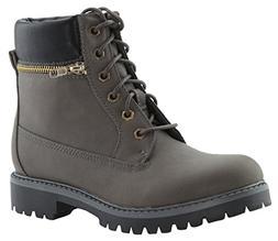 Anna Shoes Women's Lace up Zip Accent Lug Sole Combat Boot