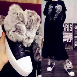 Luxuriou Women's Fur Shoes Fashion Leather Sneakers Snow Win