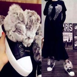 Luxury Women's Fur Shoes Fashion Leather Sneakers Snow Winte