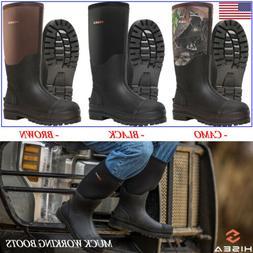 HISEA Men's Work Boots Waterproof Breathable Rain & Snow Muc