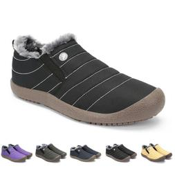 Mens Winter Snow Boots Outdoor Warm Fur-lined Slip On Ankle