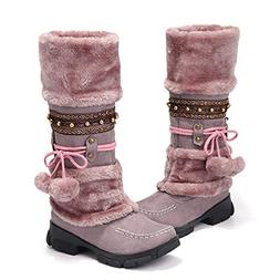gracosy Mid Calf Winter Boots, Rhinestone Slip On Mid Calf W