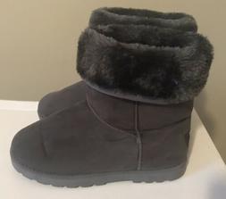 N'Polar Gray Winter Snow Boots Women's Size 7-8 Faux Fur S