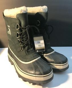 New Sorel Caribou Womens Black & Stone Winter Snow Boots, Si
