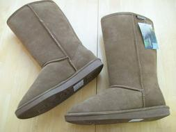 New Bearpaw Elle Tall Suede Snow Boots Hickory Brown Womens