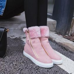 New sexy Womens Fur lined Snow Fashion zip Sneakers Flats Pu