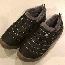 NEW Waterproof Fur Lining Slip-On Snow Boots Shoes Black - S
