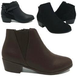 New Women's Ankle Boots Low Heel Short Booties Black Brown S