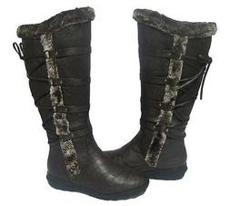 New Women's BOOTS Knee High Brown Winter Fur Lined Snow shoe