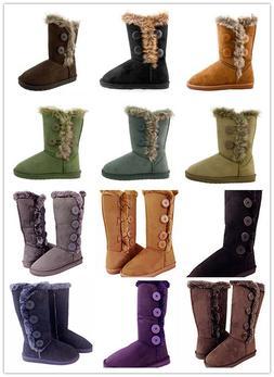 New Women's Button Fur Winter Snow Boots Faux Suede Calf War
