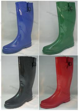 New Women's Flat Wellie Wellington Knee High Rubber Snow  Ra