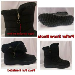 New Women's  High Top Black Puffer Faux Fur Winter Snow/ Rai