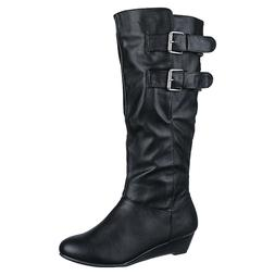 NEW Women's knee high Mid Calf Leather Platform Motorcycle r