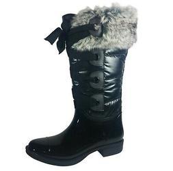 New Women's Knee High Nylon Snow Rain Boots, Black Sizes 7 -