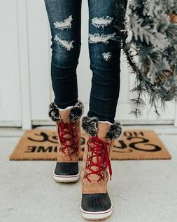 New Women's Lace Up Waterproof Snow Winter Mid Calf Duck Boo