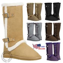 New Women's Mid Calf Twin Buckle Winter Snow Fur Faux Suede