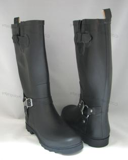 New Women's Rain Boots Harness Motocycle Mid-Calf Wellies Sn