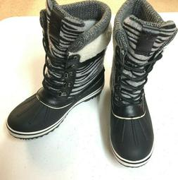 NEW!! Globalwin Women's SZ 7.5  Black Grey Snow Boots W1829